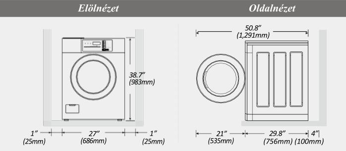 LG Giant-C+ mosógép méretek